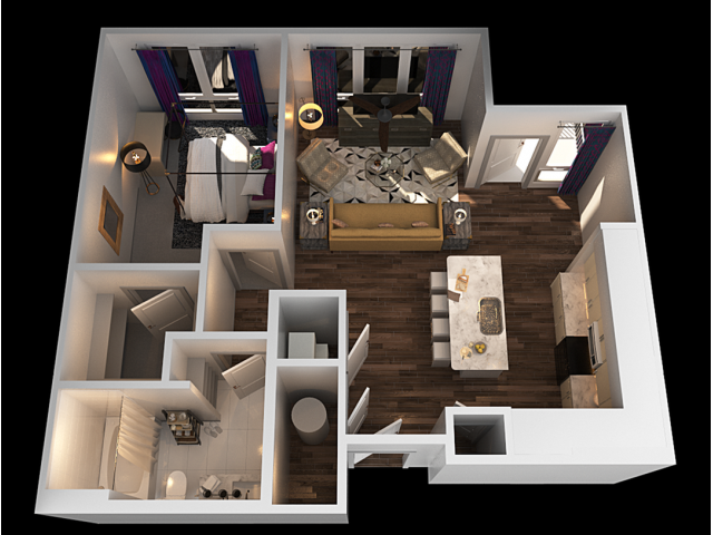 A 1 Bedroom Floor Plan | Towson Luxury Apartments | The Southerly
