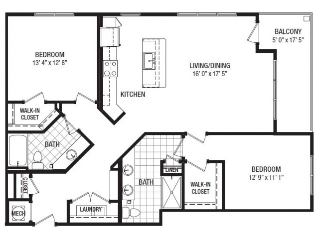 H 2 Bedroom Floor Plan | Luxury Apartments In Towson MD | The Southerly