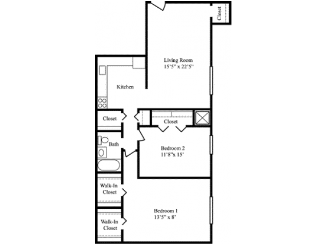 2 Bedroom Floor Plan | Apartments Milford MA | Rolling Green