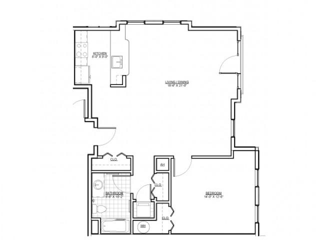Floor Plan 8 | Luxury Apartments Medford MA | Wellington Parkside