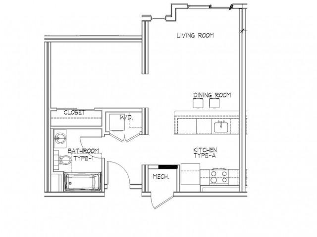 Studio Floor Plan | Apartments In Allston MA | Trac 75