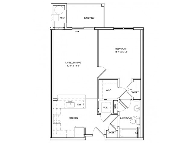 Floor Plan 2 | One, Two,  Three Bedroom Apartments in Baltimore | Overlook at Franklin Square
