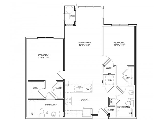 Floor Plan 12 | One, Two,  Three Bedroom Apartments in Baltimore | Overlook at Franklin Square