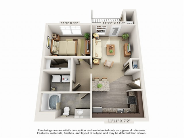 1 Bdrm Floor Plan | Apartments Hopkinton MA | Woodview at Legacy Farms