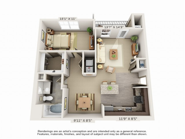 1 Bedroom Floor Plan | Hopkinton Luxury Apartments | Woodview at Legacy Farms 3