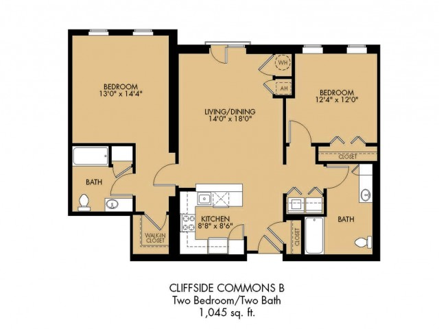 Floor Plan 12 | 2 Bedroom Apartments In Malden MA| Cliffside Commons