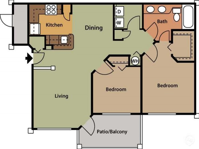 Floor Plan 7 | 2 Bedroom Apartments In Cary NC | Brook Arbor