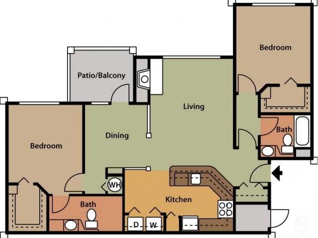 Floor Plan 13 | Luxury Apartments In Cary North Carolina | Brook Arbor