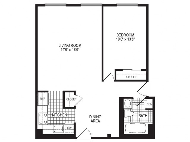 A1AK - 1 Bedroom Floor Plan | Apartments in Springfield MA | Stockbridge Court