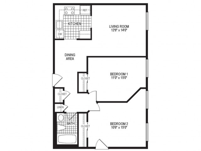 B1S - 2 Bedroom Floor Plan | Springfield MA Luxury Apartmetns | Stockbridge Court