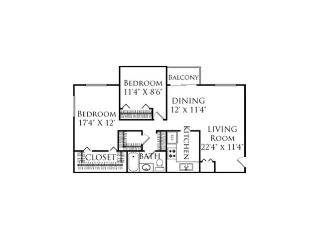 2Bed/2Bath with open living dining floor plan featuring stainless steel appliances and 2 large walk in closets.
