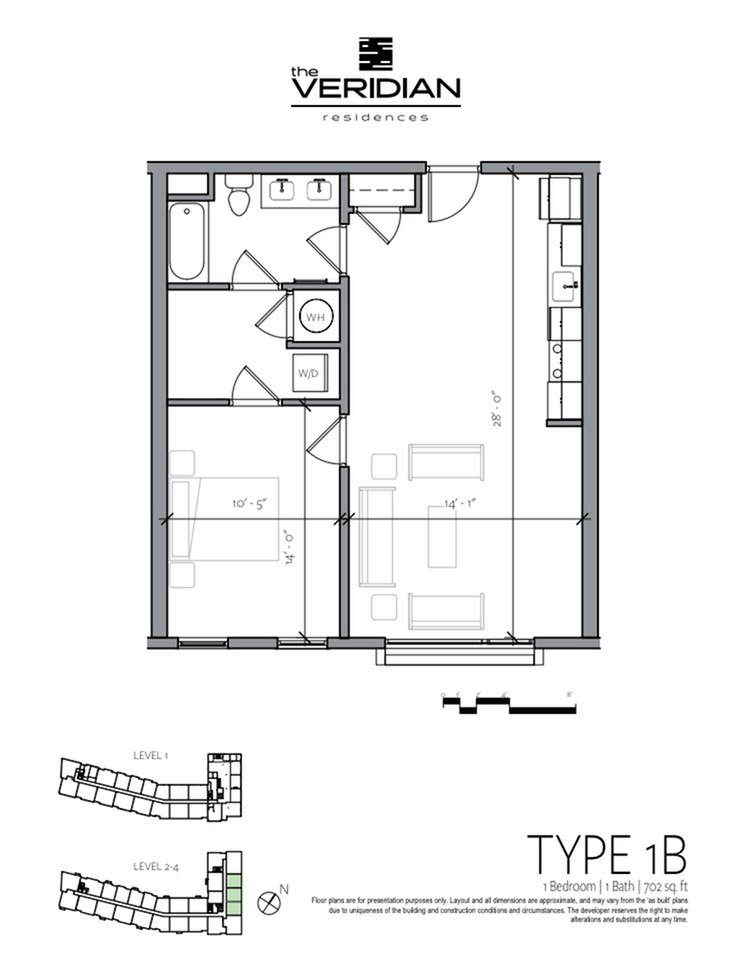 1 Bdrm Floor Plan | 1 Bedroom Apartments In Portsmouth NH | Veridian Residences