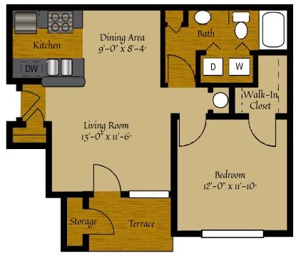 1 Bedroom Floor Plan | Luxury Apartments Raleigh NC | Olde Raleigh