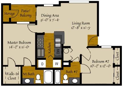 2 Bedroom Floor Plan | Apartments In Raleigh NC | Olde Raleigh
