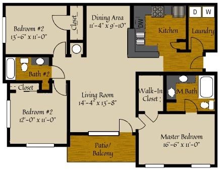 3 Bedroom Floor Plan | Apartments Near Raleigh NC | Olde Raleigh