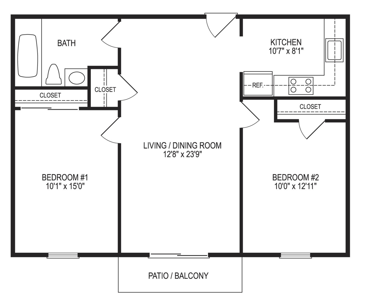 2 Bedroom / 1 Bath