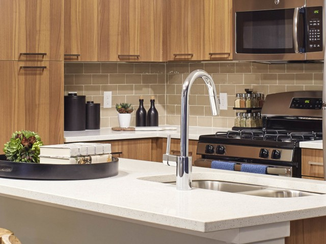 Image of Designer subway tile backsplash for The Mave