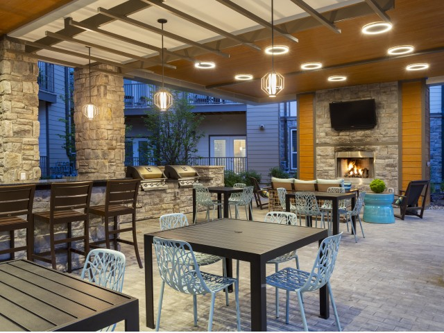 Image of Plaza: California kitchen, fireplace lounge & al fresco dining for The Mave