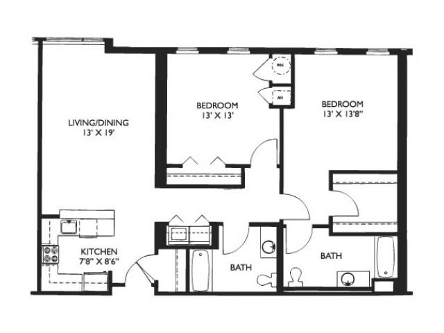 Floor Plan 27 | 2 Bedroom Apartments Malden Ma | Strata
