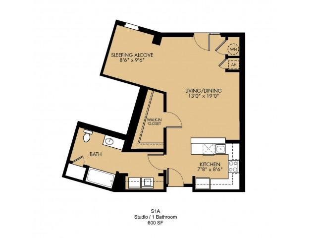 Studio Floor Plan | Malden Ma Apartments | Strata