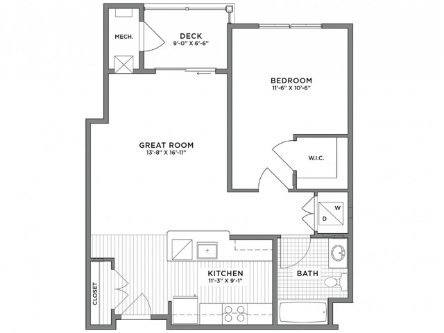 1 Bedroom Floor Plan | Luxury Apartments Weymouth MA | The Gradient	1 Bedroom Floor Plan | Luxury Apartments Weymouth MA | The Gradient