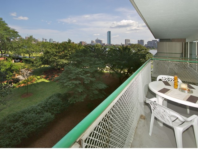 100 Memorial Drive balcony and Boston views