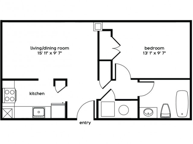 1 Bedroom Floor Plan | Apartments For Rent Millbury MA
