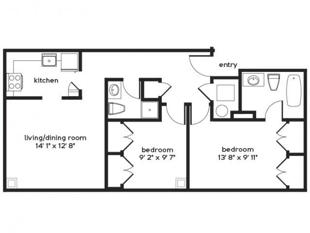 2 Bedroom Floor Plan | Apartments For Rent Millbury MA