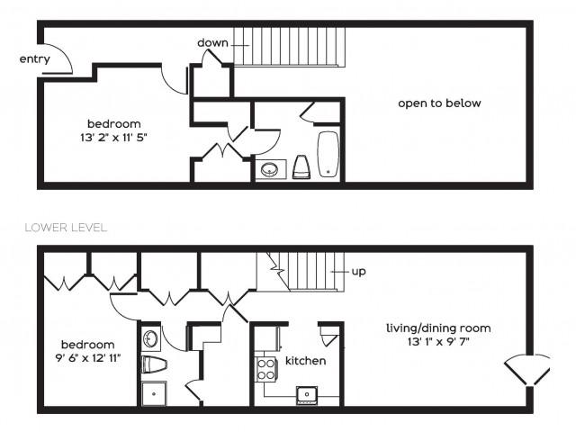 2 Bedroom Floor Plan | Millbury MA Apartments