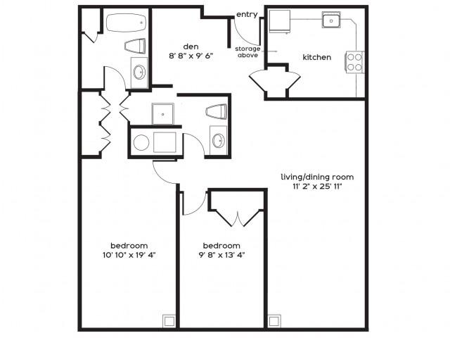 2 Bedroom Floor Plan | Apartments For Rent In Millbury MA