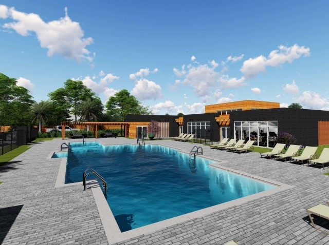 Image of Swimming Pool with Expansive Sundeck and Cabana for Mezzo Apartment Homes