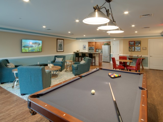 billiards in the community room
