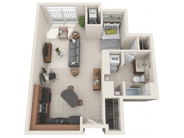 studio floor plan, studio apartment