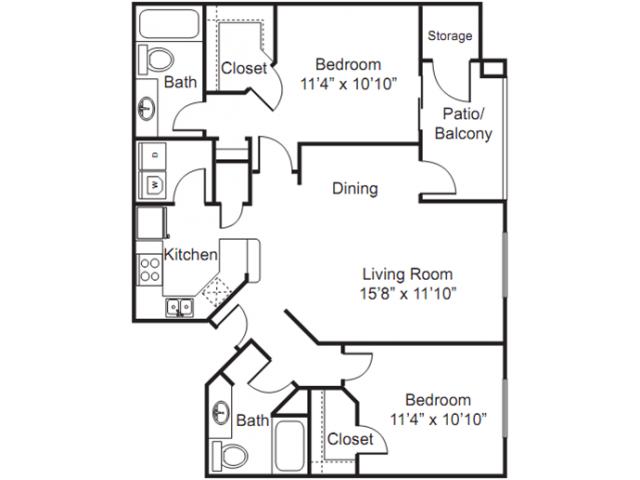 Floor Plan 2 | Luxury Apartments Tempe AZ | The Palms on Scottsdale