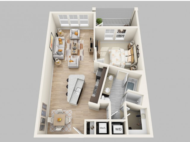 Floor Plan 7 | Luxury 1 Bedroom Apartments In Orlando FL