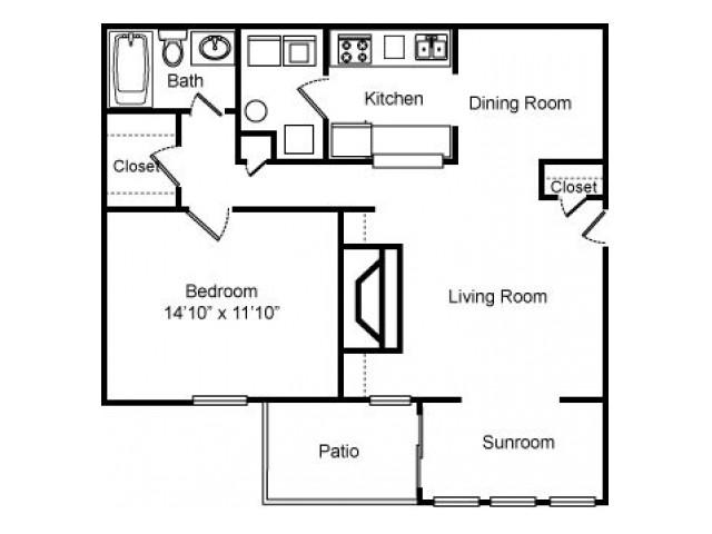 1 bed 1 bath 860 sq ft