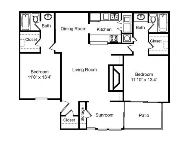 2 bed 2 bath 1270 sq ft