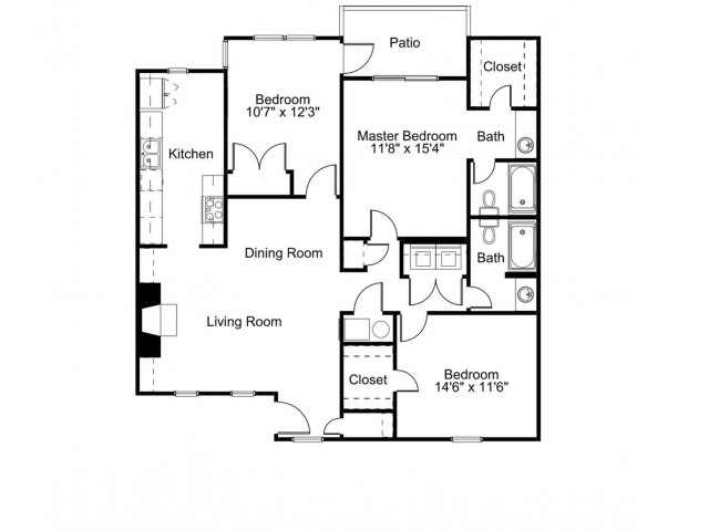3 bed 3 bath 1355 sq ft