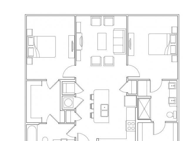 2 Bedroom / 2 Bath 1170 sqft