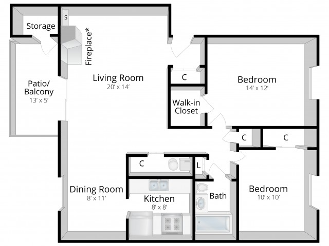 Two Bedroom One Bath Apartments ashley pointe apartments | brochure