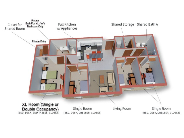 4 Bedroom 2 Bathroom -- Golden Delicious Floor Plan