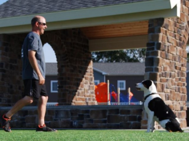 Image of Bark Park with Dog House Covered Patio for Liv Arbors