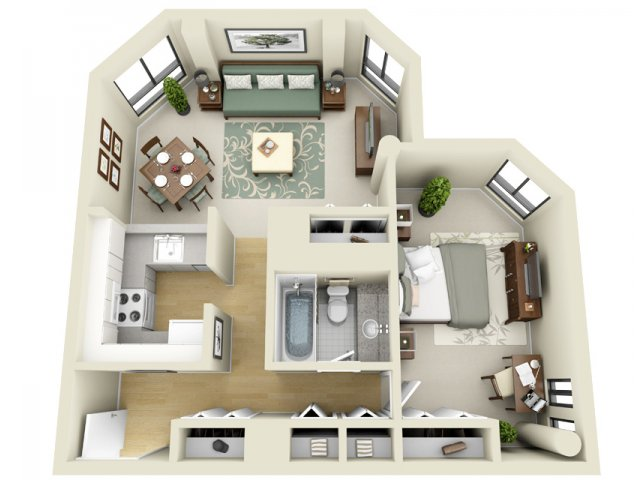 2D Floor Plan image for the Floor Plan A Floor Plan of Property The Greenhouse Apartments