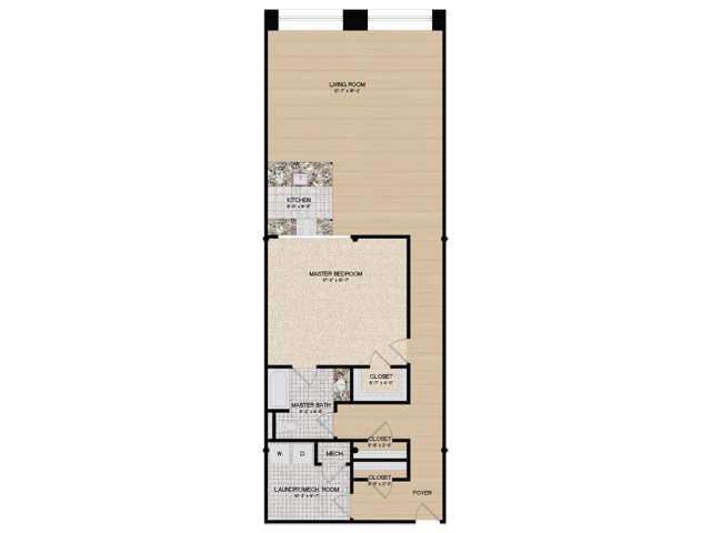 1 Bedroom Floor Plan | Loft 27