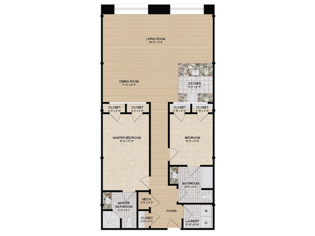 2 Bedroom Floor Plan | Loft 27