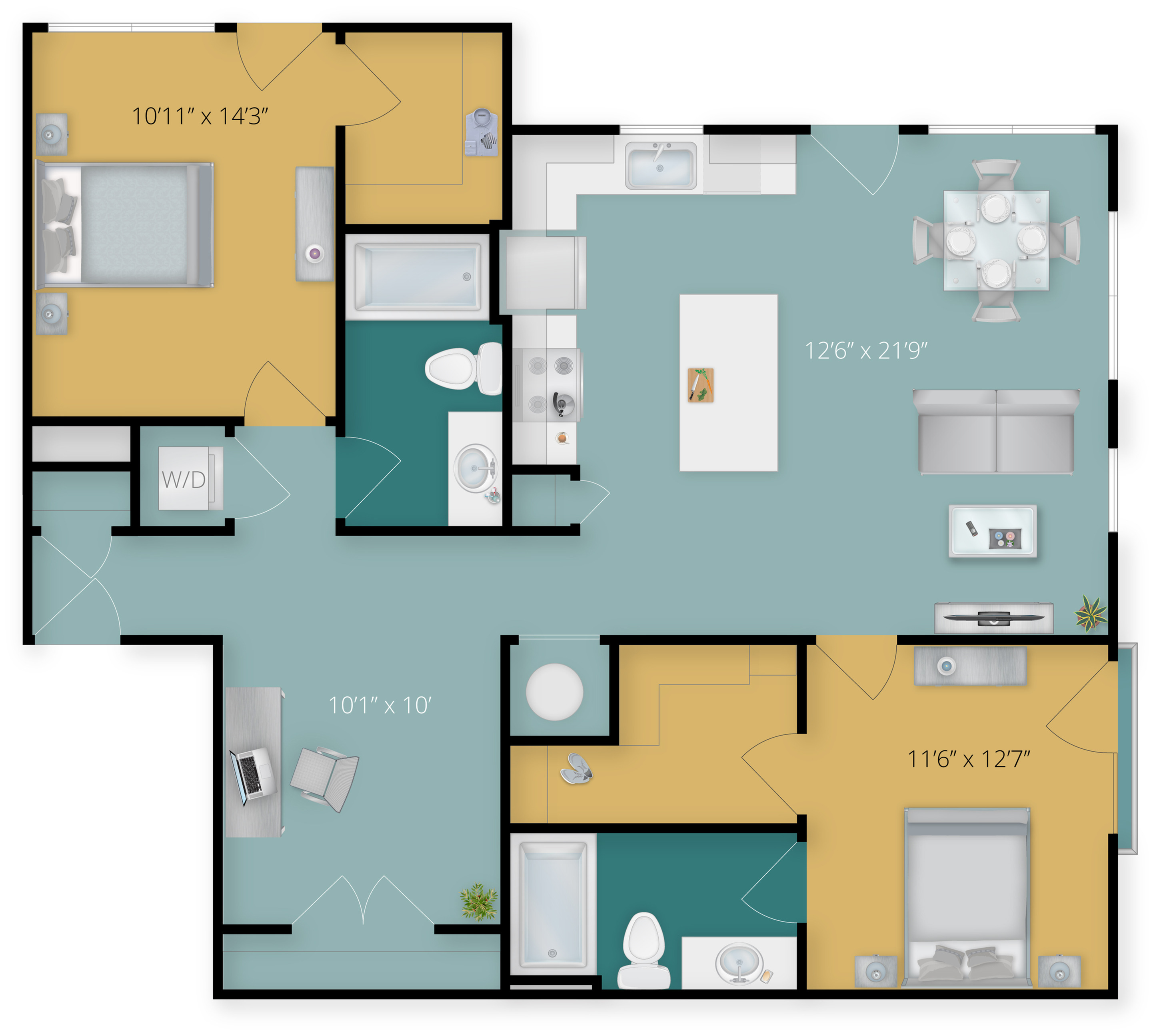 Floor Plan 1 | Towson Luxury Apartments | Flats at 703