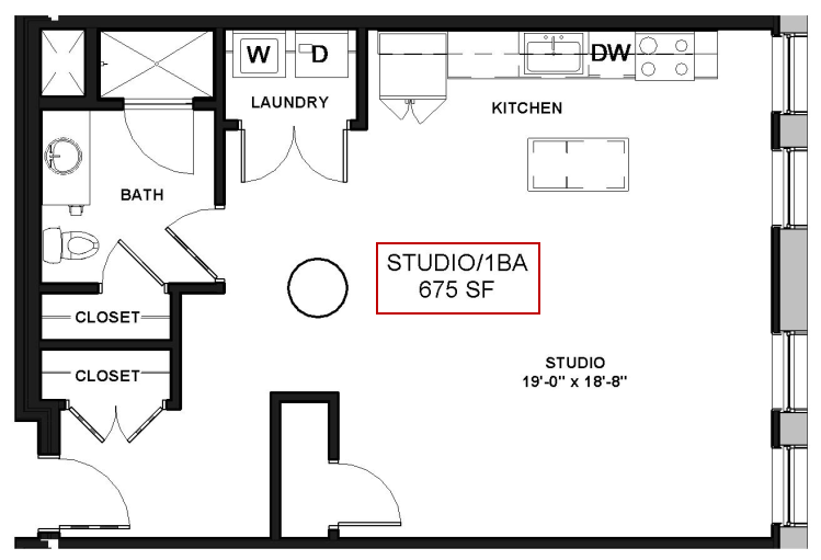 Studio 1 Bath Apartment in Rochester NY Spectra at Sibley Square