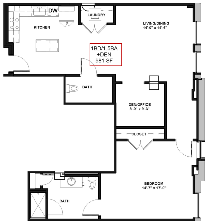 for the 1 BEDROOM 1 5 BATHROOM WITH DEN floor plan. 1 Bed   1 5 Bath Apartment in Rochester NY   Spectra at Sibley Square