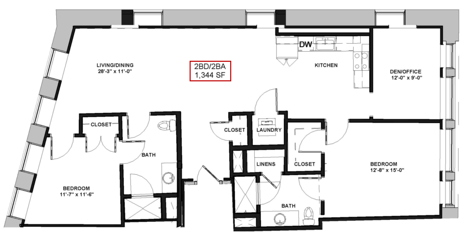 Lovely for the 2 BEDROOM 2 BATHROOM WITH DEN floor plan Ideas - Best of 2 bedroom 2 bath apartment Top Design
