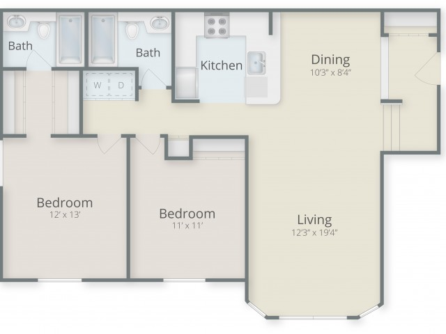 Two Bedroom / Two Bathroom with  Foyer